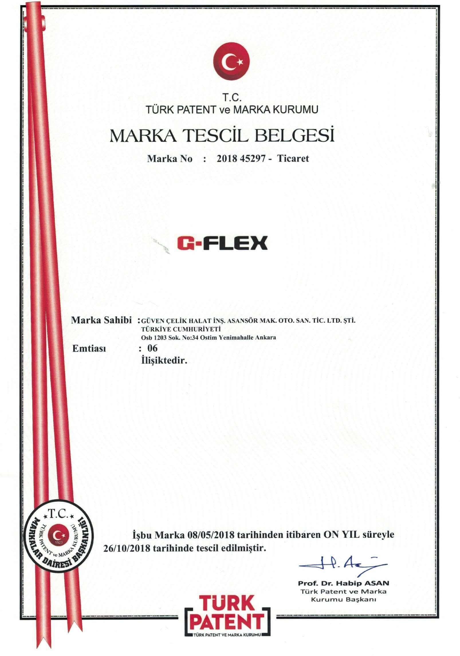 Marka Tescil Belgesi 1