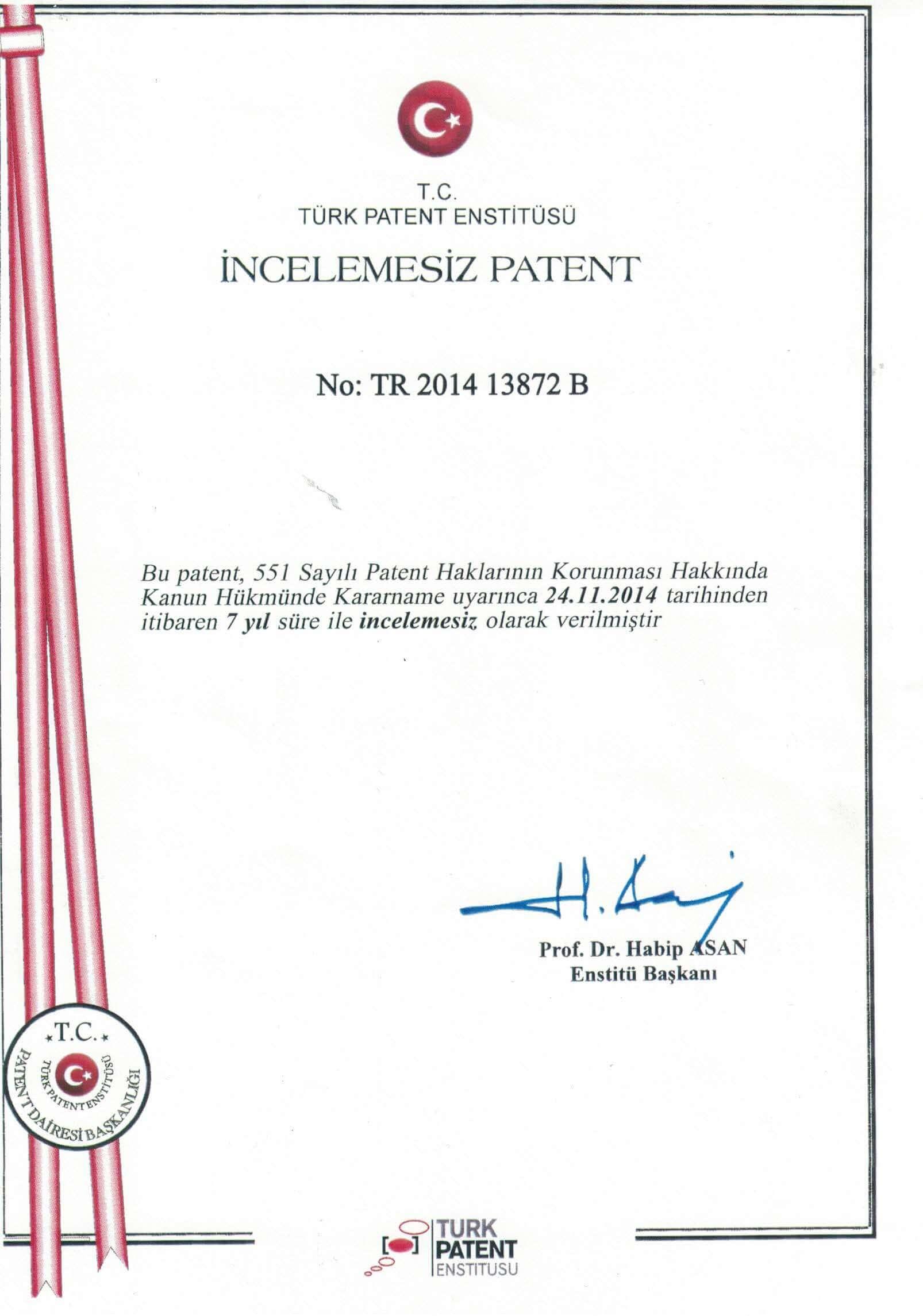 Türk Patent Enstitüsü İncelemesiz Patent Sertifikası 1